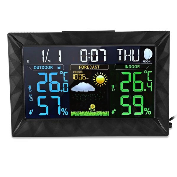 Weather Station Wireless Indoor Outdoor Digital Thermometer Hygrometer Forecast Temperature Humidity Meter Clock Alarm Probe