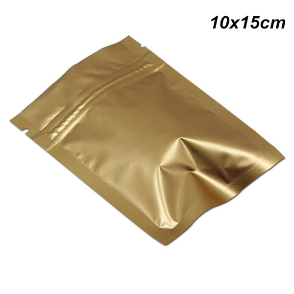 Matte Gold 100pcs/Lot 10x15 cm Mylar Foil Packaging Bags with Zipper Resealable Aluminum Foil Sample Giveaway Storage Pack Pouch for Seeds