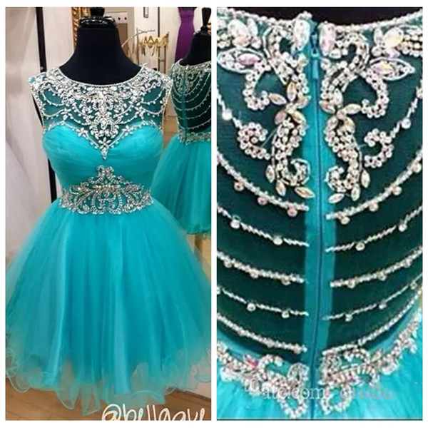 Sheer Bling Bling A-Line Homecoming Dresses 2019 Beaded Crystal Tulle Skirt Customized Formal Prom Party Gowns Special Occasion Party Gowns