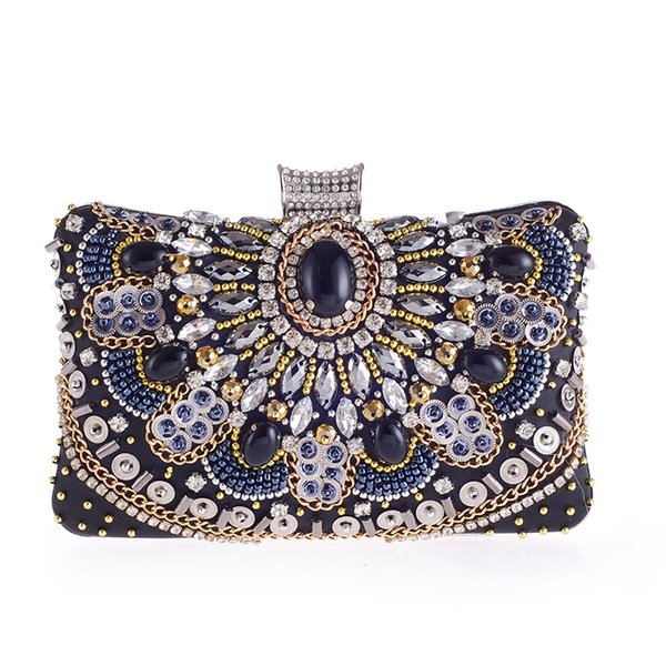 Hand-wulstige Armbänder Diamant Frauen wulstige Kupplungen Hochzeit Tasche Abendtaschen mit schwarzen Stein Geldbörse elegante Damen Tageskupplungen