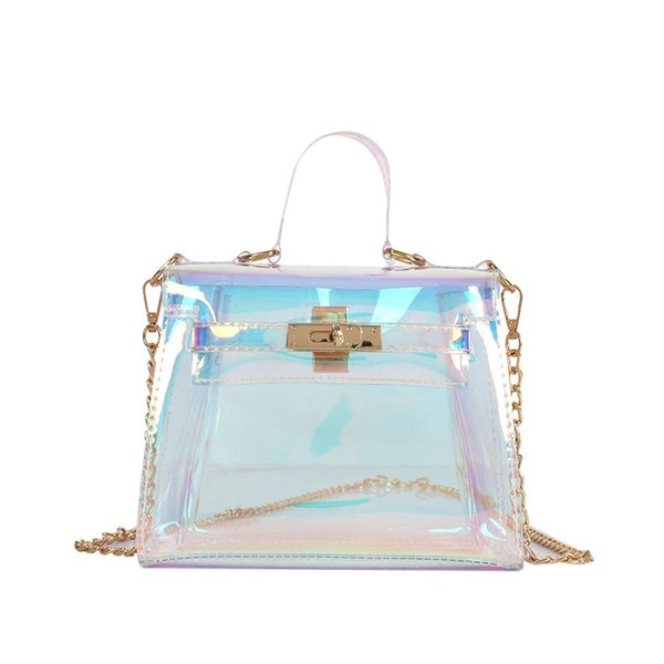 Laser messenger bags candy women fashion jelly Transparent handbag Plastic shoulder bags hasp Lock Chains handbags holographic