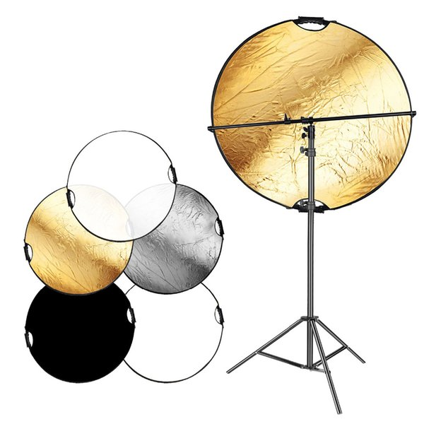 wholesale 5-in-1 Portable Round Camera Lighting Reflector/Diffuser Disk with feet Light Stand and Holder Arm for Photo Studio