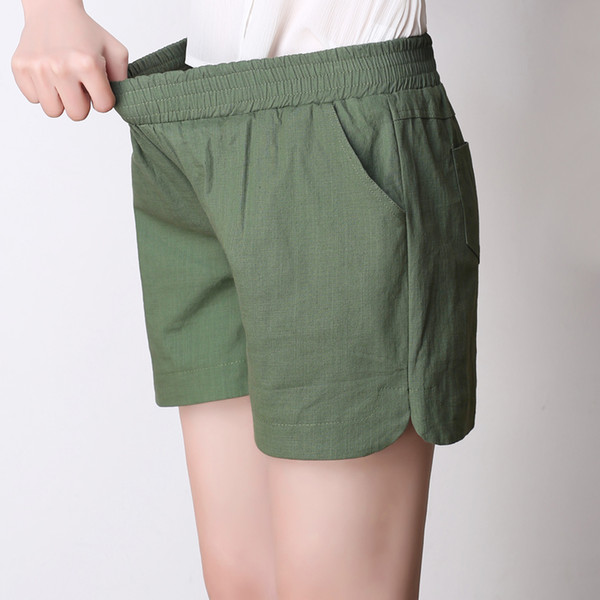 2018 mujeres del verano pantalones cortos de las mujeres de lino de algodón de algodón sólido a cuadros elásticos wsist flojas niñas
