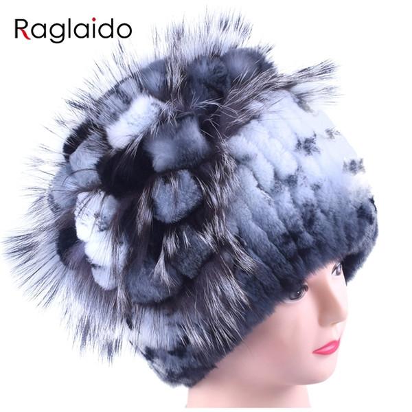Women Rabbit Fur Hat Winter Warm fashion Lady Beanie Hat fox fur hats Handmade knitted hat headwear gorro Caps LQ11143 D18110102