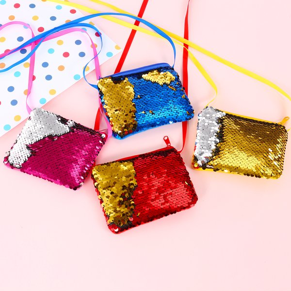 High quality Mermaid Sequins Coin Purse Wallet Kids Girl Glittering Purse Handbag Party Zipper Clutch Bag Earphone Package 15pcs/