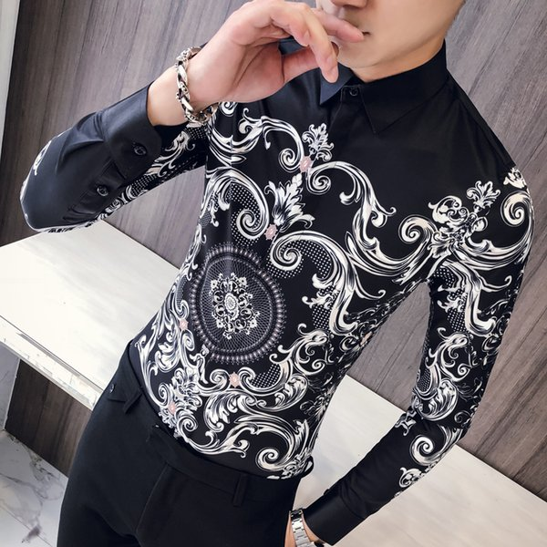 Men Paisley Print Shirt Camisa Slim Fit Masculina Social Formal Shirts For Men Slim Fit Korean Clothes Prom Club Shirt