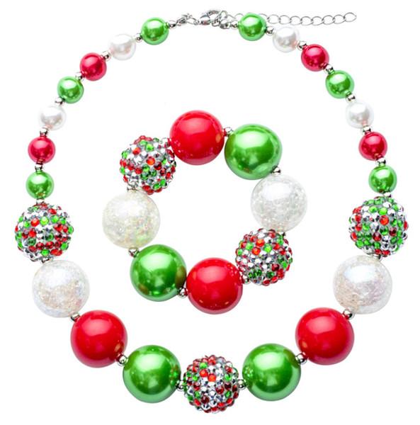 عيد الميلاد اللون الأخضر الخرز قلادة حلوى مطرز قلادة جميل أطفال القلائد سوار طفلة حزب مجوهرات