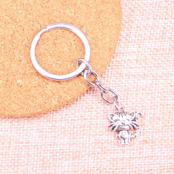 Fashion 28mm Key Ring Metal Key Chain Keychain Jewelry Antique Silver Plated smiling cat 19*17mm Pendant