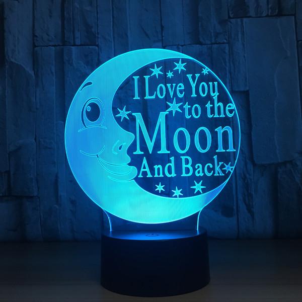 2018 Moon 3D Optical Illusion Lamp Night Light DC 5V USB Charging Battery Wholesale Dropshipping Free Shipping