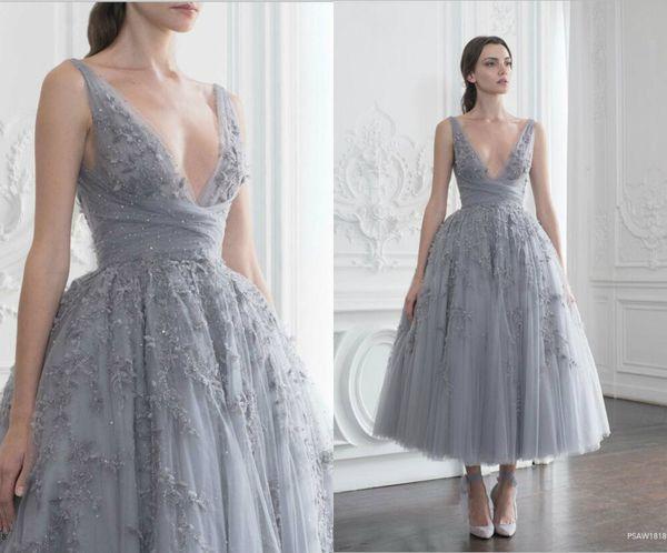 Ball Gown Dresses Polo Sebastian Art Deco-inspired Sheer Neck Straps Sheer Evening Dresses Sweep Tea Length Party Dress