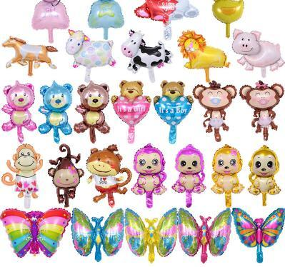 50pcs Random Mini Bear Monkey Buttfly Sheep Pig Princess Animal Foil Balloons Inflated Air Ballon Birthday Party Supplies Kids Toy