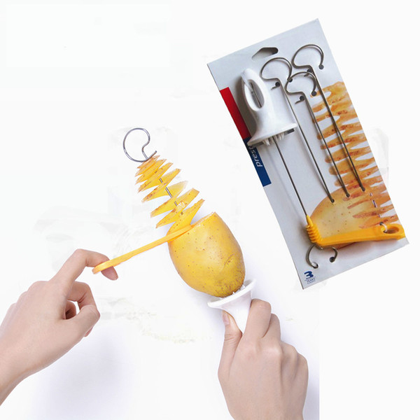 Tornado Potato Spiral Cutter Slicer Spiral Potato Chips PRESTO 4spits Potato Tower Making Twist Shredder Cooking Tools