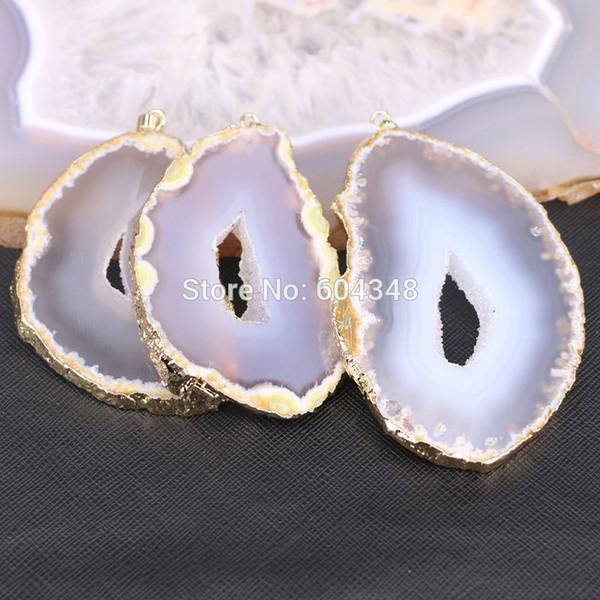 5pcs Big Size Fashion Nature Slice Pendant, Gold color Geode Quartz Gems Stone Pendant