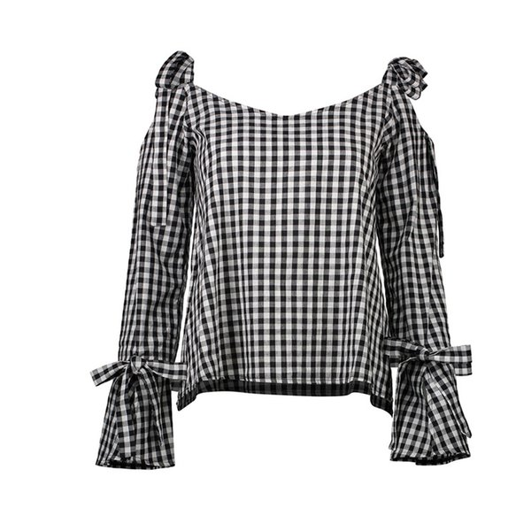 Long Sleeve T Shirt Women Autumn Plaid Off The Shoulder Tops For Women T-Shirts Flare Sleeve Lace Up Bow T-Shirt Women Tops Female