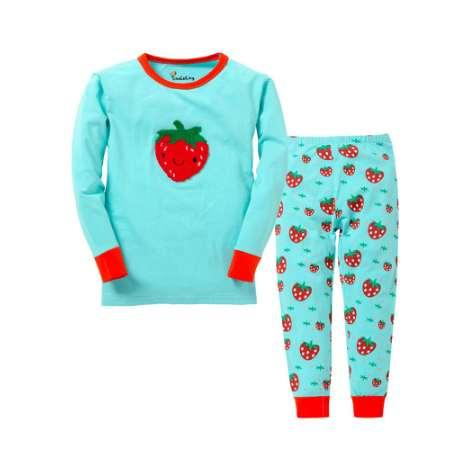 new girls strawberry pyjamas kids fruit pajamas children clothing sets baby 100% cotton sleepwear for 2-7T