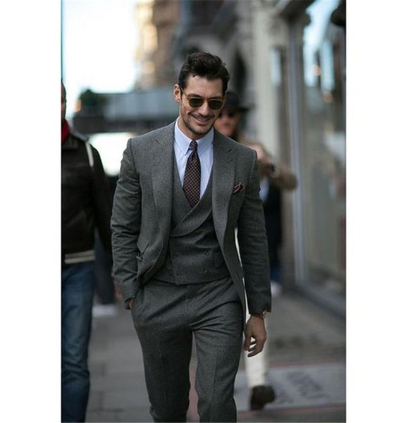 Masculino Smoking Grey Tweed Jacket Men Suit New Fashion Terno Slim Fit Tuxedo 3Piece(Jacket+Pants+Vest+Tie) Groom Custom Blazer