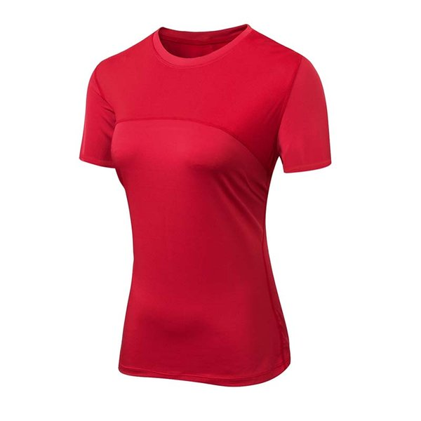 Women Yoga Shirts Sexy Sports Top Fitness Top Solid Running Tight T-shirts Gym Clothes Quick-dry Stretch Short Sleeve Sportswear