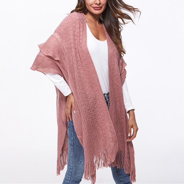 Quality Pashmina Oversized Reversible Reversed Women Winter Knitted Faux Cashmere Poncho Capes Shawl Cardigans Sweater Coat 2018