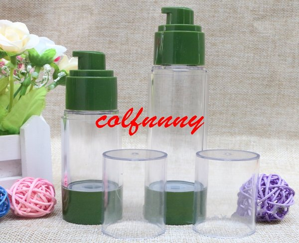 100pcs/lot 30ml 50ml empty green bottle vacuum flask high pressure bottle,No air emulsion pump bottle perfume dispenser