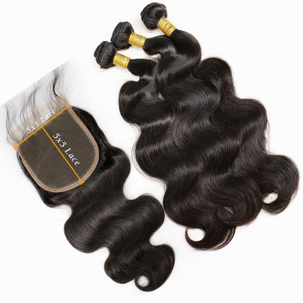 Vücut Dalga 5x5 Demetleri Ile Dantel Kapatma Brezilyalı Remy Saç İnsan Saç Kapatma Ağartılmış Knot Ile Bebek Saç Ücretsiz Bölüm