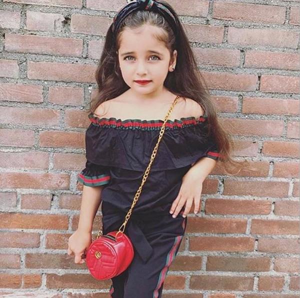 Kleinkind-Baby-Kleidung weg vom Schulter-Tops Shirt lange Hosen Outfits kurze Hülsen-Kleidung 1-6T Kinder Mädchen Kleidung