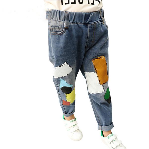 Jeans Enfants Motif Patchwork Filles Jeans Pour Garçons Pantalons De Mode 2018 Enfants Pantalons Printemps Automne Denim Pants