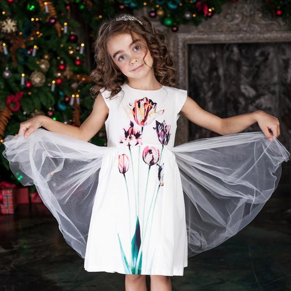 Compre Niñas Verano Vestidos De Malla 2018 Niñas De Las Flores Lindo Vestido De Princesa Niños Vestidos Para Niñas Cumpleaños Vestido De Fiesta De Los