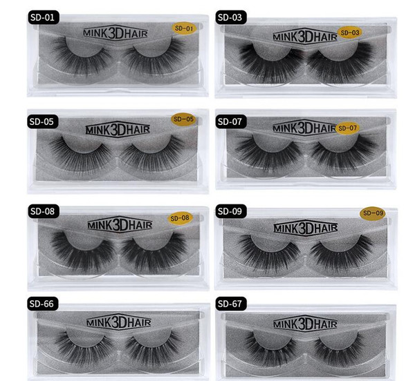 best price 11 styles Selling 1pair/lot 100% Real Siberian 3D Mink Full Strip False Eyelash Long Individual Eyelashes Mink Lashes Extension