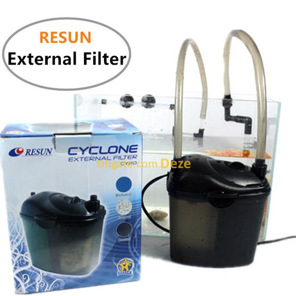 RESUN 3W 200L / H Filtre externe de boîte métallique d'aquarium pour 60L réservoir de poissons Médias de filtre externe AC220-240V