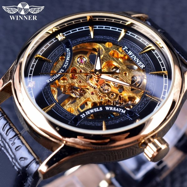 Ganador 2016 Moda Negro Golden Star Reloj de diseño de lujo Reloj para hombre Marca de fábrica superior de lujo Reloj esqueleto mecánico Hombre reloj de pulsera D18101002