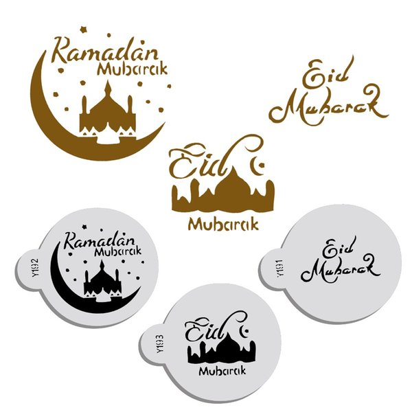 3pcs/set PET Mosque Eid Mubarak Ramadan Design Coffee Stencils,laser cut cookie Biscuits fondant cake decoration tools
