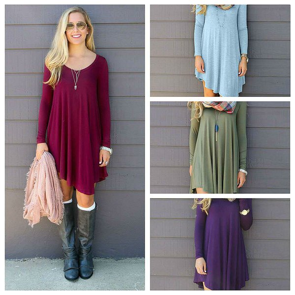 Womens Casual Dress Streetwear Dress Long Sleeve Asymmetical Empire Shirt Dress Cheaper Womens Clothing Wholesale Solid Loose Dresses S- 2XL