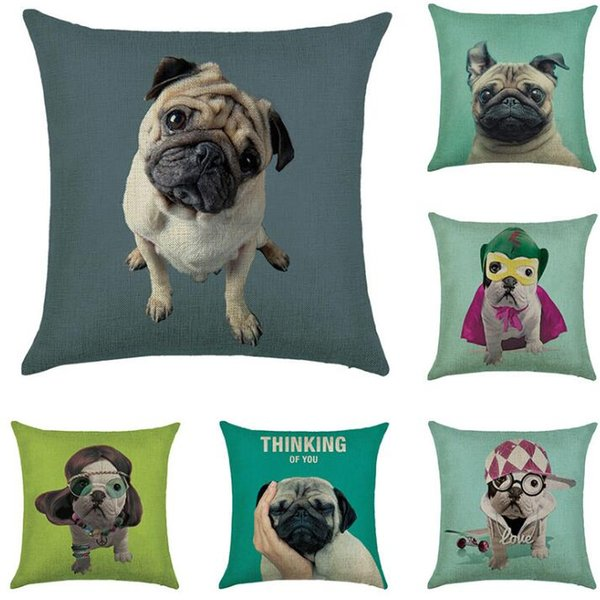 Stile di pittura a colori Cute Cartoon Cani Federe Pet star Pugs cantante Lovely Cats Pillow Case in cotone Lino 45 * 45cm Cows Pillow For Kids