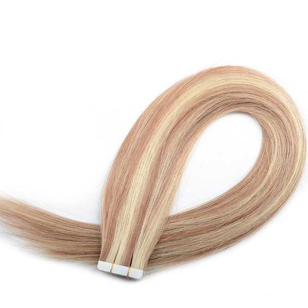 Trama de la piel Extensiones de cabello humano virgen Natural Original virgen cruda Remy Brasileña India Peruana Cinta de Malasia en extensiones de cabello 150G Lote