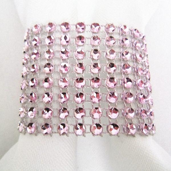 50pcs Crystal Elegant Wedding decorations Pink Adjustable Bling Napkin Rings Diamond Mesh Napkin Holders Party Table Decor