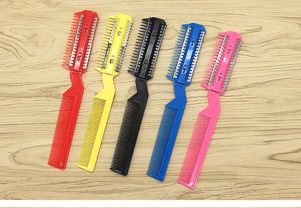 1 PCS/Lot 4 Color Razor Comb Hair Cutter Thinning Shaper Comb 2 Razor Blades Trimmer Barber Remover Tool Super