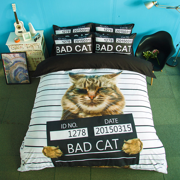 Free shipping Novelty Gift funny cool bad cat pattern bedding set duvet Quilt Cover with 2 pillowcase Twin full Queen King size