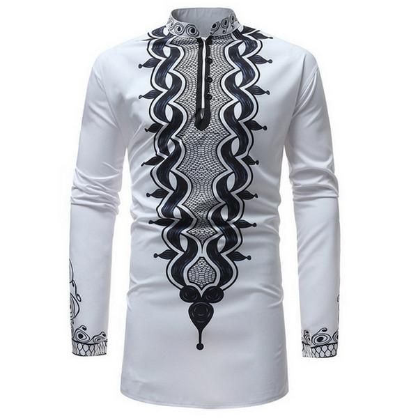 SHUJIN Africain Dashiki Col montant Imprimé Traditionnel Shirt à manches longues Chemise à manches longues pour hommes Nouvelle Arrivée Afrique Vêtements