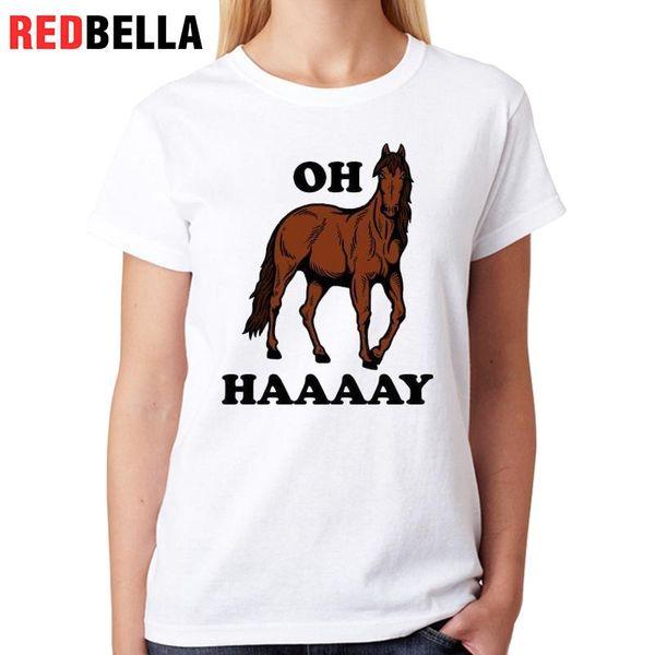 Women's Tee Redbella Ulzzang White T Shirt Horses Art Vintage Animal Graphic Hipster Women Clothes 2017 100% Cotton Camisetas Femininas Tee