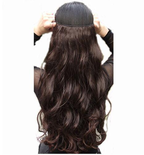 24inch Long Clip in ins hair Extensions synthetic 100% real natural hair Extentions 3/4 full head 1 Piece Black Brown