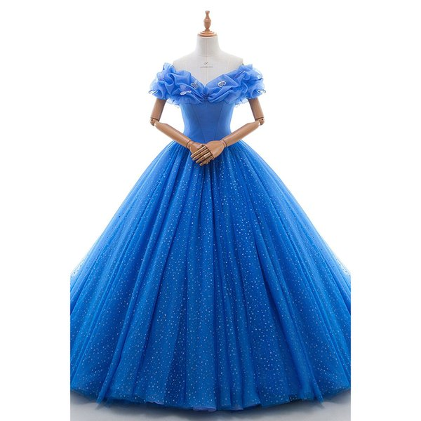 2018 Real Photos Blue Ball Gown V-Neck Organza Draped With Sequins Bridal Gowns Sexy Backless Court Train Wedding Dress