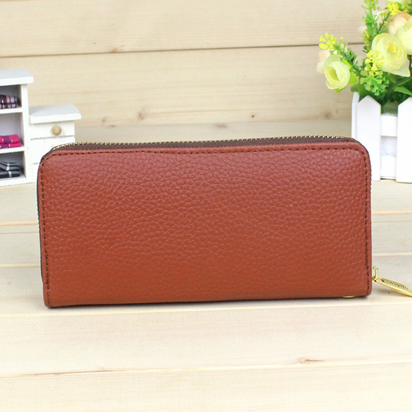 Litchi Pattern Women's Wallets Pu Leather Long Clutch Wallet Ladies Card Holder Solid Fashion Zipper Designer Coin Purse Female