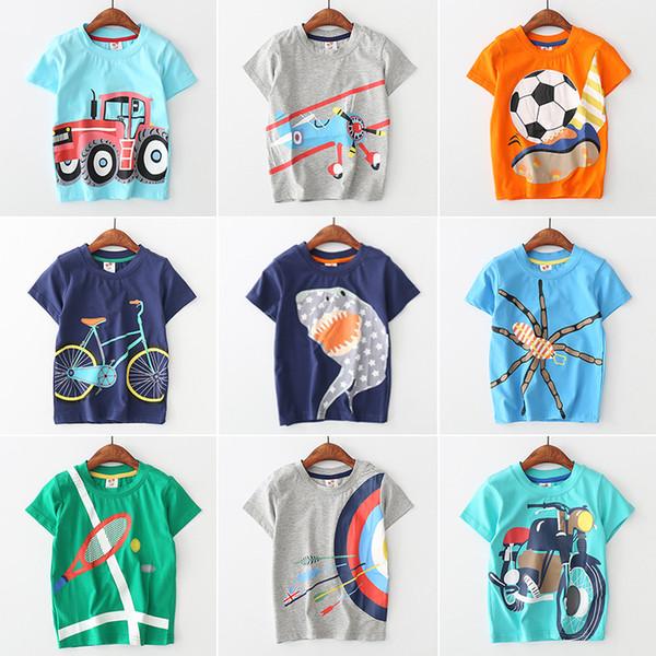Bebé animal de dibujos animados Camisetas niños niños Coche plano imprimir tops 2018 verano Tees Boutique niños Ropa 11 colores C4047