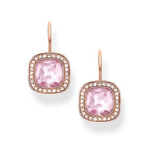 Rose Gold Color Pink Crystal Earrings Framed by White Zirconia, Most Fashion Earings Jewelry Gem Stone Drop Earring for Women C18111901