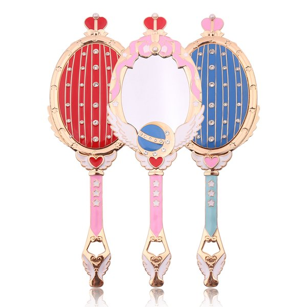 Unique Metal Mirror Sailor Moon Oval Hand Held Makeup Mirror With Crown Beauty Dresser Red Blue Crystal Cute