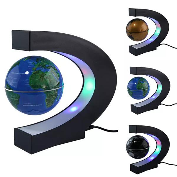 Presente de natal Magnetic Suspensão Globo miniaturas estatuetas Decorativas Rotação Forma Mapa Do Mundo Com Luzes LED Mesa de Escritório Brinquedos Decoração de Casa