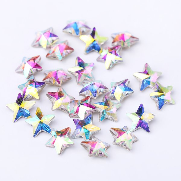 50pcs/pack K9 Quality Silver Plated Point Back Star Shape White AB Nail Crystal Rhinestones For DIY Jewelry Accessories