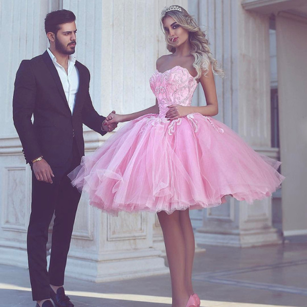 New 2018 Pink Short Homecoming Dresses Plus Size Tutu Puffy Ball Gown Formal Party Gowns for Teens Cocktai Dress Sweet 16 Dresse