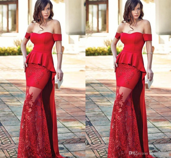 2018 Exquisite Off Shoulder Red Mermaid Evening Dresses Applique Lace Peplum Long Prom Celebrity Gowns Formal Special Occasion Wear