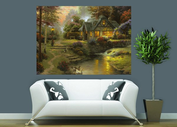 Natural Scenery Thomas Kinkade Modern Landscape Oil Painting Reproduction High Quality Giclee Print on Canvas Modern Art Decor TK0051